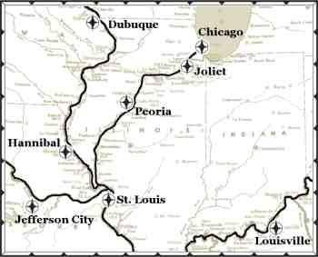Continuously Cruising River City - Port of Calls on illinois state map missouri, map of streets in hannibal, map downtown hannibal,